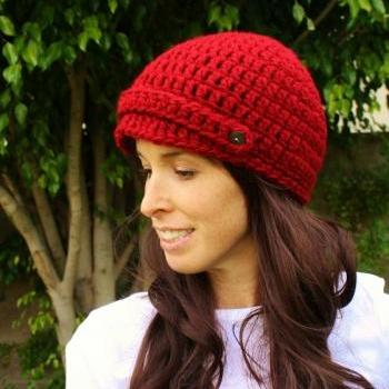 Chunky Newsboy Crochet Cap in Red