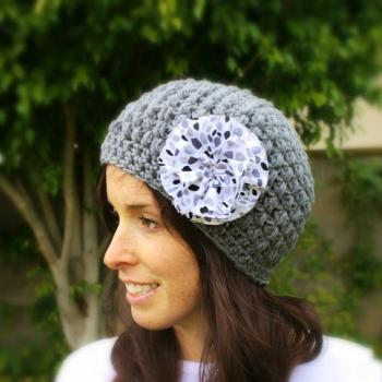 Grey Slouch Hat with Speckled Fabric Flower